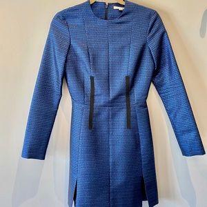 CARVEN metallic blue long sleeve mini dress
